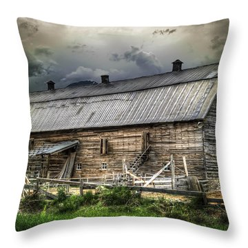 Golden Barn Throw Pillow