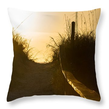 Golden Beach Access Throw Pillow