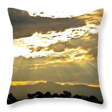 Golden Beams Of Sunlight Shining Down Throw Pillow by James BO  Insogna
