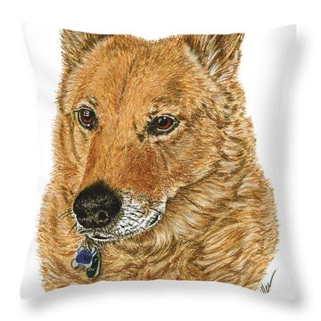Throw Pillow featuring the drawing Golden Beauty by Val Miller