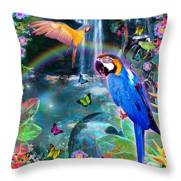 Golden Bluebirds Paradise Version 2 Throw Pillow by Alixandra Mullins