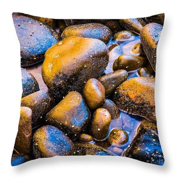 Golden Boulders Throw Pillow