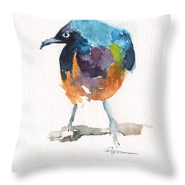 Golden-breasted Starling Throw Pillow