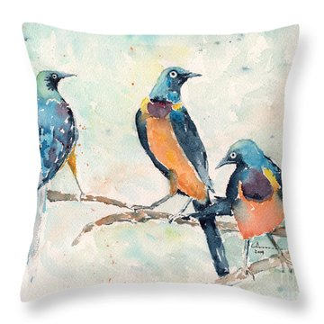 Golden-breasted Starlings Throw Pillow