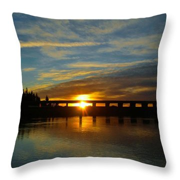 Golden Bronze Sunset Throw Pillow