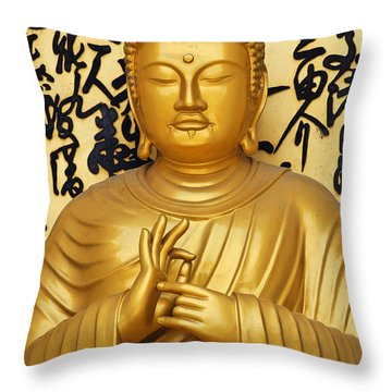 Golden Buddha Statue At The World Peace Pagoda Pokhara Throw Pillow by Robert Preston