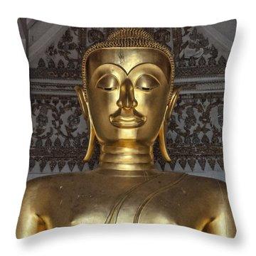Golden Buddha Temple Statue Throw Pillow by Antony McAulay