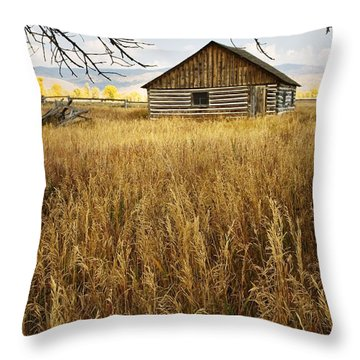 Golden Cabin Throw Pillow by Sonya Lang