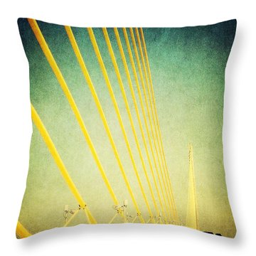 Golden Cables Throw Pillow by Beth Williams