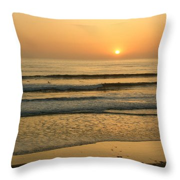 Golden California Sunset - Ocean Waves Sun And Surfers Throw Pillow