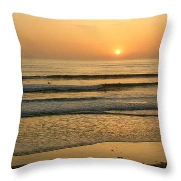 Golden California Sunset - Ocean Waves Sun And Surfers Throw Pillow