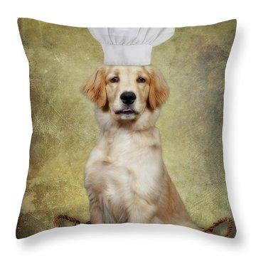 Golden Chef Throw Pillow by Susan Candelario