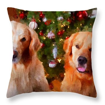 Golden Christmas Throw Pillow by Claire Bull