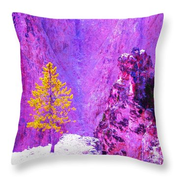 Golden Christmas In Yellowstone Throw Pillow by Ann Johndro-Collins