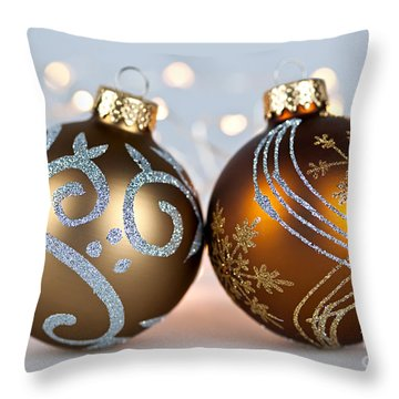 Golden Christmas Ornaments Throw Pillow by Elena Elisseeva