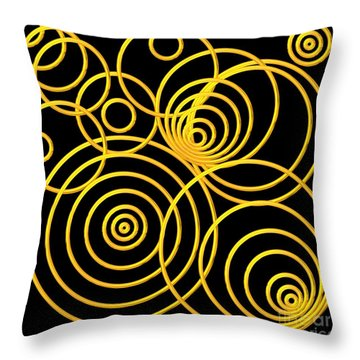 Golden Circles Optical Illusion Throw Pillow by Rose Santuci-Sofranko
