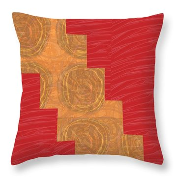Throw Pillow featuring the photograph Golden Circles Red Sparkle  by Navin Joshi