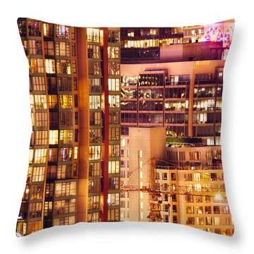 Throw Pillow featuring the photograph City Of Vancouver - Golden City Of Lights Cdlxxxvii by Amyn Nasser