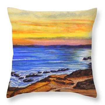 Golden Cove Throw Pillow by Darren Robinson