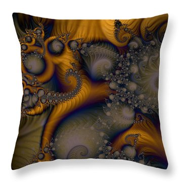 Golden Dream Of Fossils Throw Pillow by Elizabeth McTaggart