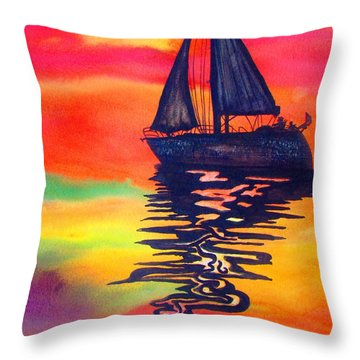 Throw Pillow featuring the painting Golden Dreams by Lil Taylor