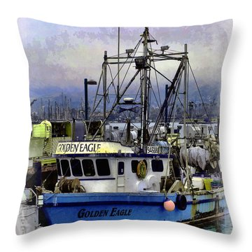 Golden Eagle Fishing Boat Throw Pillow by William Havle
