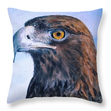 Throw Pillow featuring the painting Golden Eagle by Sandra Phryce-Jones