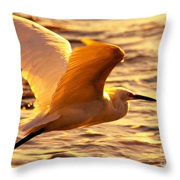 Golden Egret Bird Nature Fine Photography Yellow Orange Print  Throw Pillow by Jerry Cowart