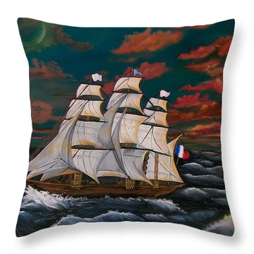 Throw Pillow featuring the painting Golden Era Of Sail by Sharon Duguay
