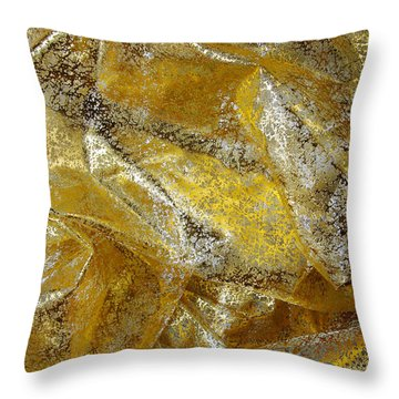 Golden Fabric Throw Pillow by Carlos Caetano