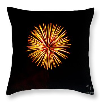 Golden Fireworks Flower Throw Pillow by Robert Bales