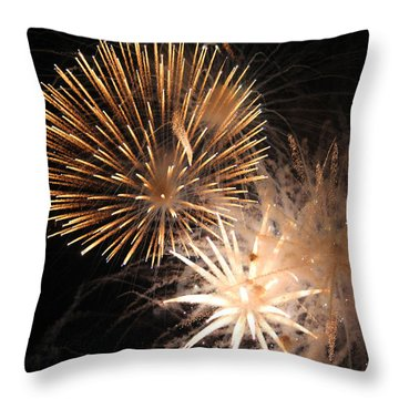 Golden Fireworks Throw Pillow