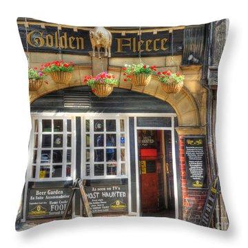 Golden Fleece Pub In York Throw Pillow