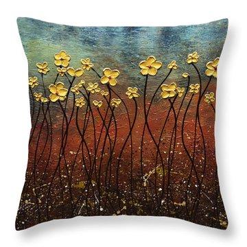 Golden Flowers Throw Pillow