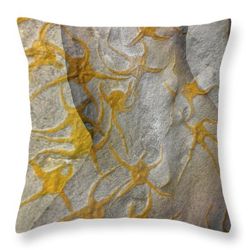 Golden Fossil Female Form Throw Pillow