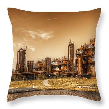 Golden Gas Works Throw Pillow by Spencer McDonald