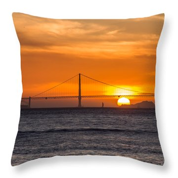 Golden Gate - Last Light Of Day Throw Pillow