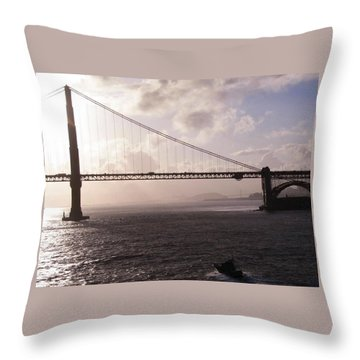 Golden Gate And Bay Bridge Throw Pillow by Jay Milo