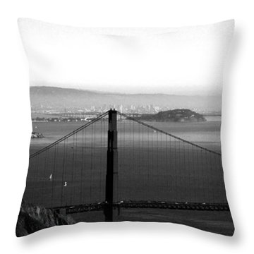 Golden Gate And Bay Bridges Throw Pillow