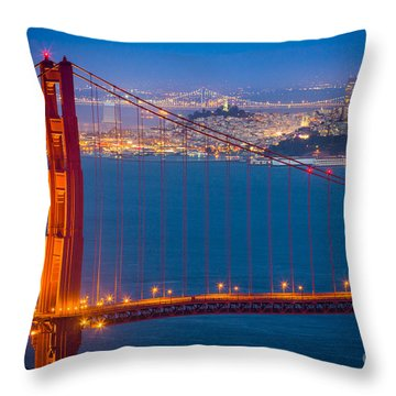 Golden Gate And San Francisco Throw Pillow by Inge Johnsson