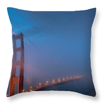 Golden Gate At Blue Hour Throw Pillow