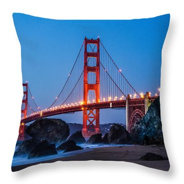Golden Gate At Twilight Throw Pillow