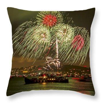 Golden Gate Bridge 75th Anniversary Fireworks 17 Throw Pillow