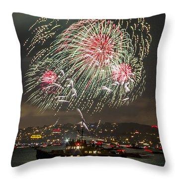Golden Gate Bridge 75th Anniversary Fireworks 18 Throw Pillow