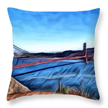 Windy Day At Golden Gate Bridge Throw Pillow