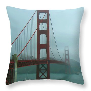 Golden Gate Bridge And Partial Arch In Color  Throw Pillow by Connie Fox