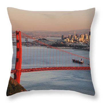 Throw Pillow featuring the photograph Golden Gate Bridge And San Francisco 1 by Lee Kirchhevel