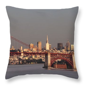 Throw Pillow featuring the photograph Golden Gate Bridge And San Francisco Panoramic by Lee Kirchhevel