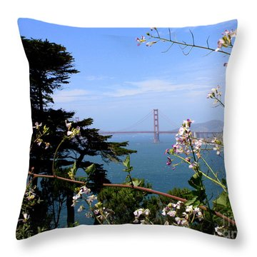 Golden Gate Bridge And Wildflowers Throw Pillow by Carol Groenen