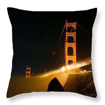 Golden Gate Bridge At Night In The Fog Throw Pillow
